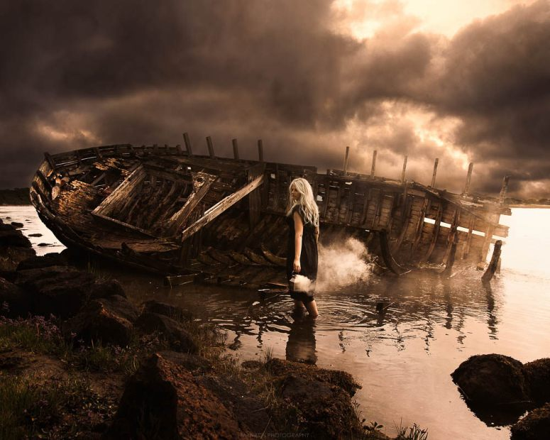 woman and shipwreck
